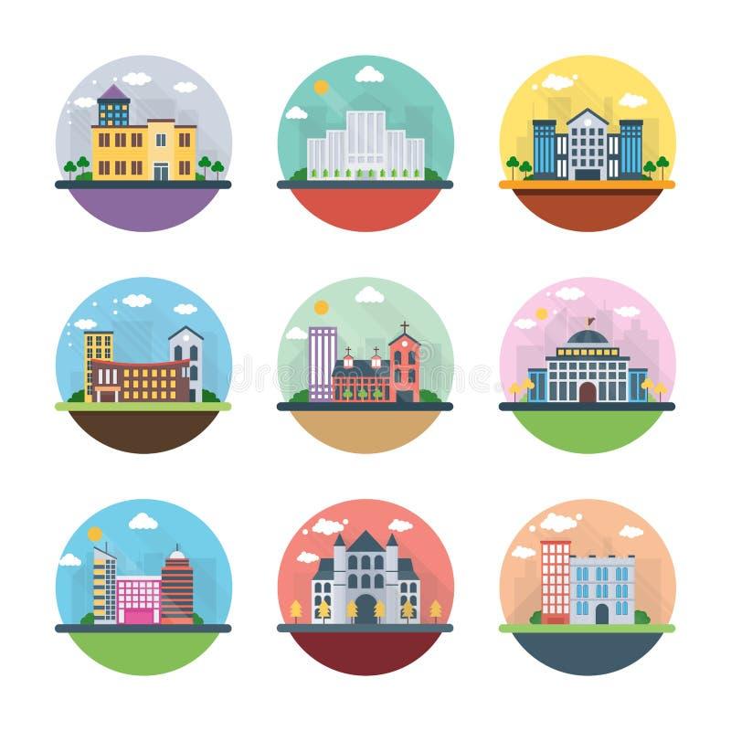 Różne budynku mieszkania ikony royalty ilustracja