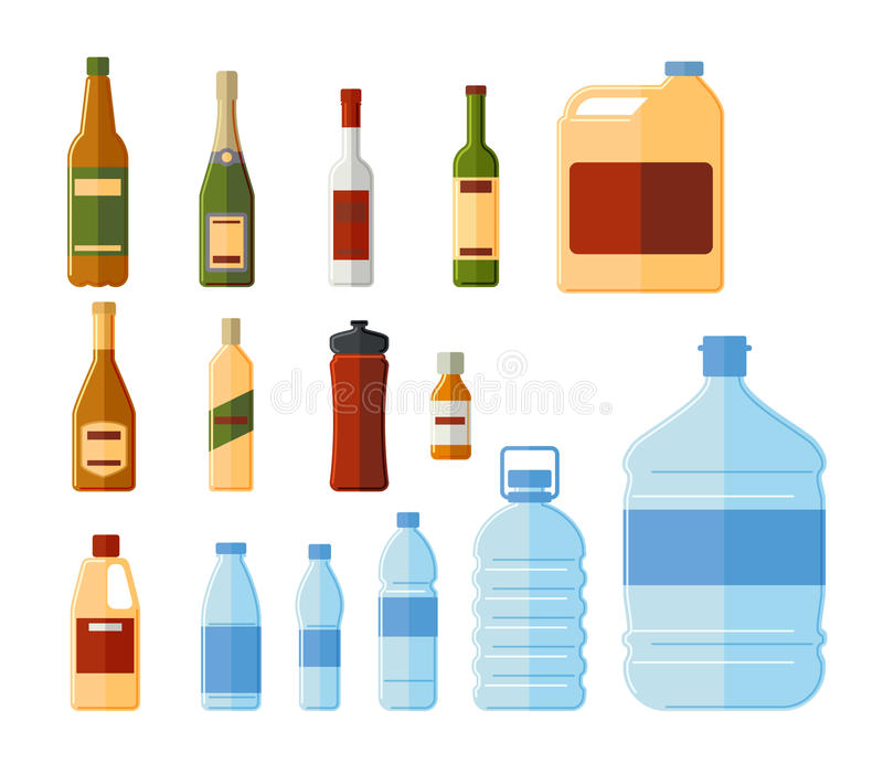 Różne butelki i wodna zbiornika wektoru ilustracja ilustracji