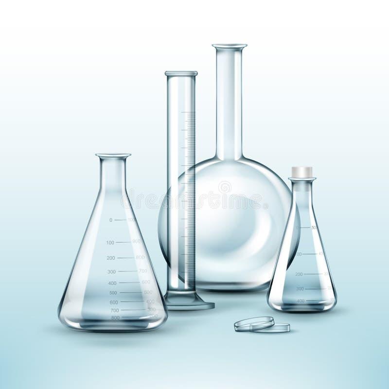 Różne chemiczne kolby ilustracja wektor