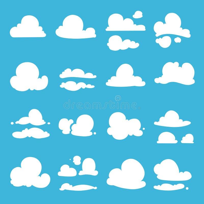Różne chmury w kreskówka stylu abstrakcjonistycznych tła błękitny guzika kolorów glansowani ilustracyjni odosobneni przedmioty us ilustracji
