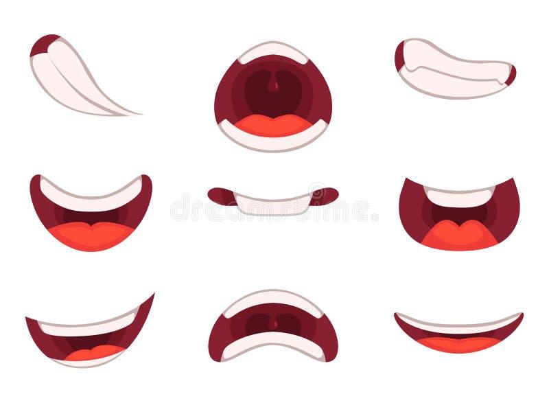 Różne emocje kreskówek usta z śmiesznymi wyrażeniami royalty ilustracja