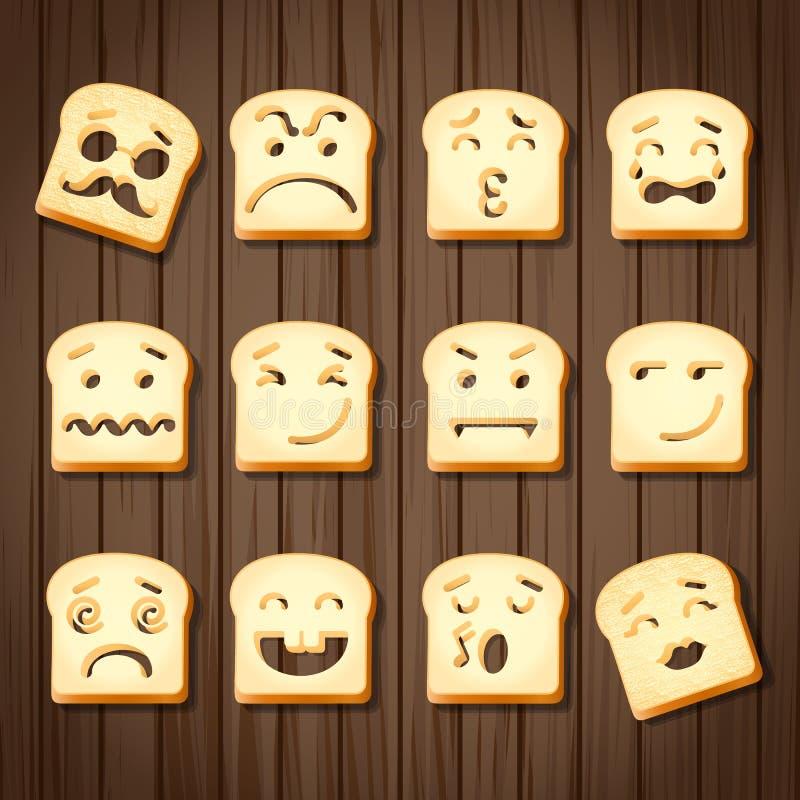 Różne emocje pokrojony chleb royalty ilustracja
