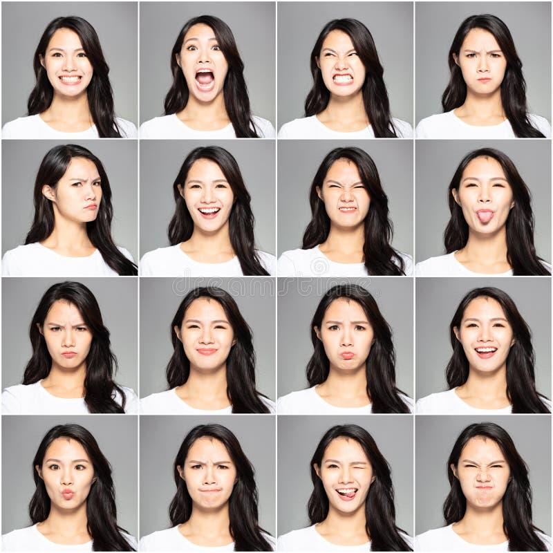 różne emocje w ten sam młodej kobiecie obraz royalty free