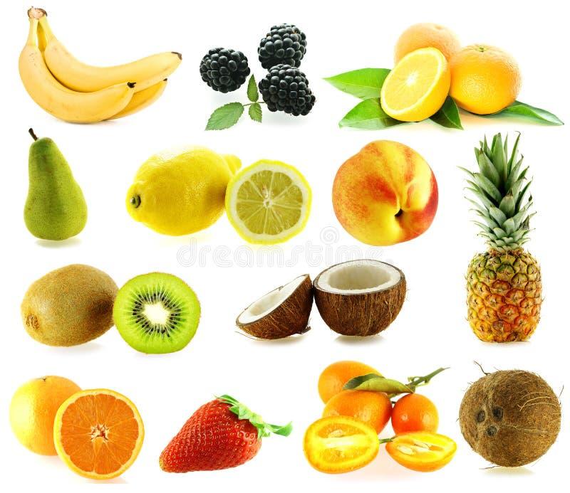 różne frash dojrzałe owoce zestaw obraz stock
