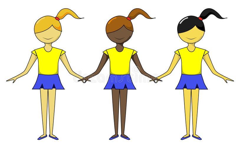 różne grupy etniczne dziewczyn. ilustracja wektor