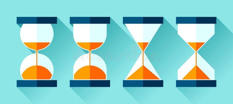 Różne Hourglass ikony ustawiać w mieszkanie stylu, sandglass na koloru tle Wektorowi projektów elementy dla ciebie biznesowy proj ilustracja wektor