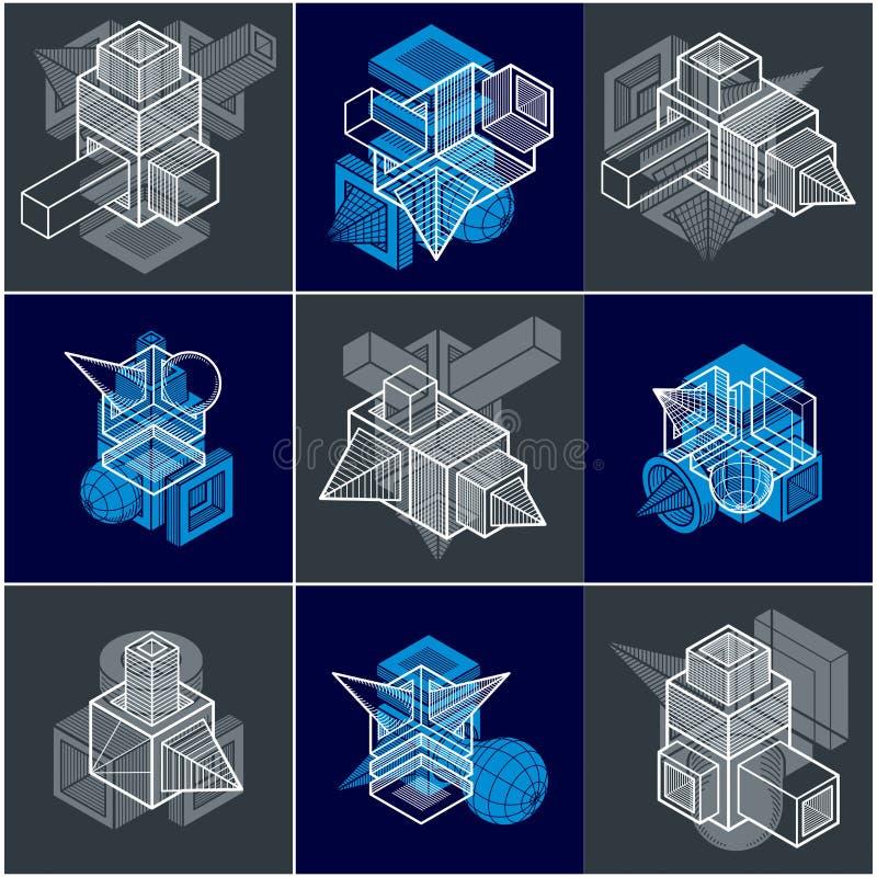Różne inżynierii budowy kolekcje, abstrakcjonistyczni wektory royalty ilustracja