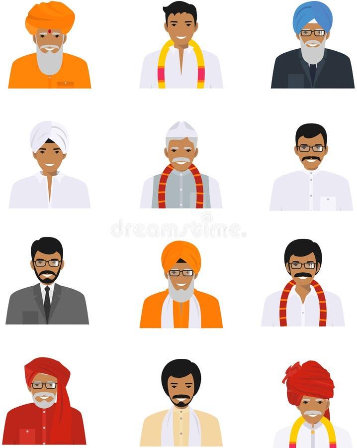 Różne indyjskie stare i młodzi człowiecy charakterów avatars ikony ustawiać w mieszkaniu projektują na białym tle różny ilustracja wektor