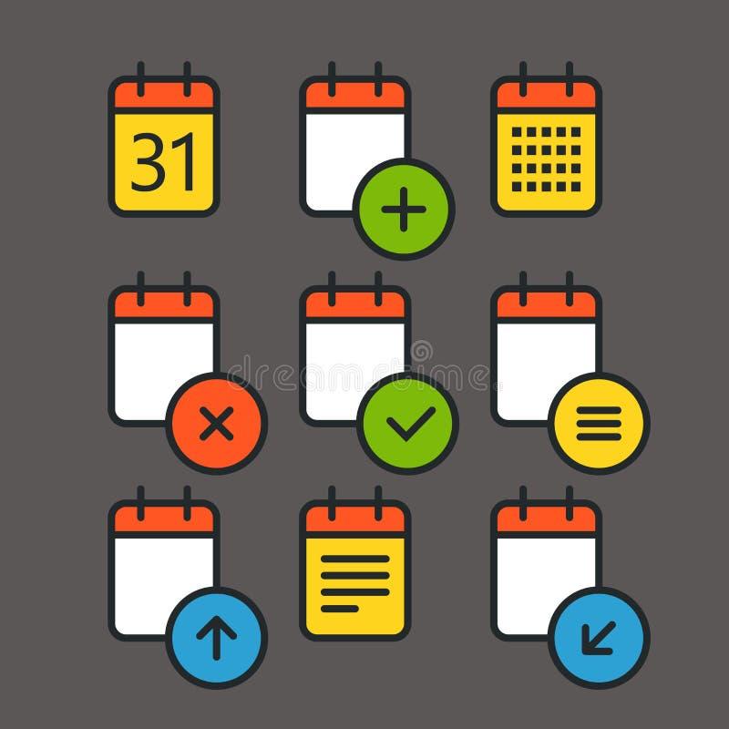 Różne kalendarzowe kolor ikony ustawiać z zaokrąglonymi kątami ilustracja wektor