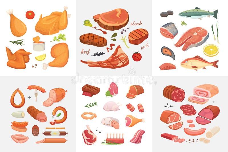 Różne mięsne karmowe ikony ustawiający wektor jakby Surowy baleron, setu grill chiken, kawałek wieprzowina, meatloaf, cała noga,  ilustracji