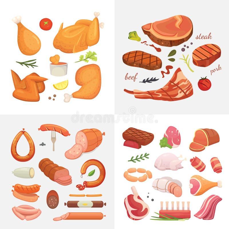 Różne mięsne karmowe ikony ustawiający wektor jakby Surowy baleron, setu grill chiken, kawałek wieprzowina, meatloaf, cała noga,  ilustracja wektor