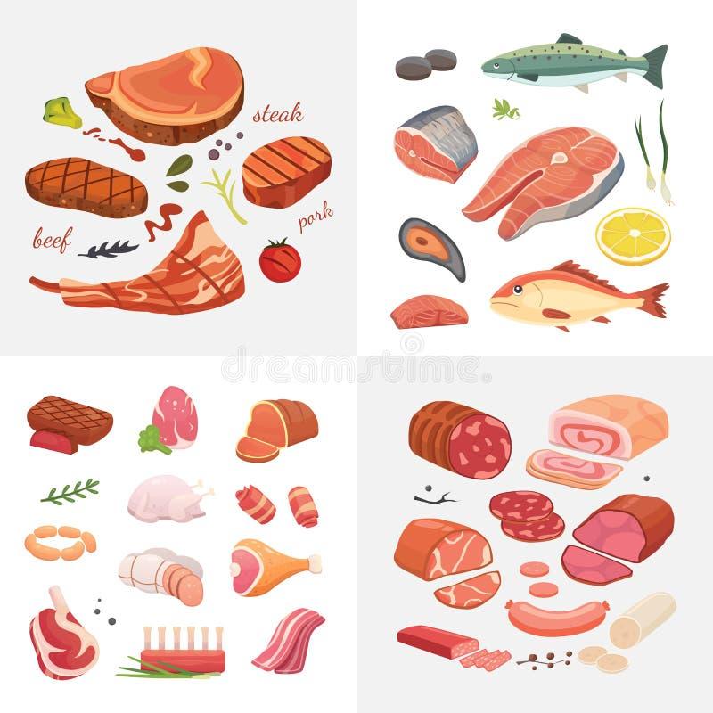 Różne mięsne karmowe ikony ustawiający wektor jakby Surowy baleron, setu grill chiken, kawałek wieprzowina, meatloaf, cała noga,  royalty ilustracja