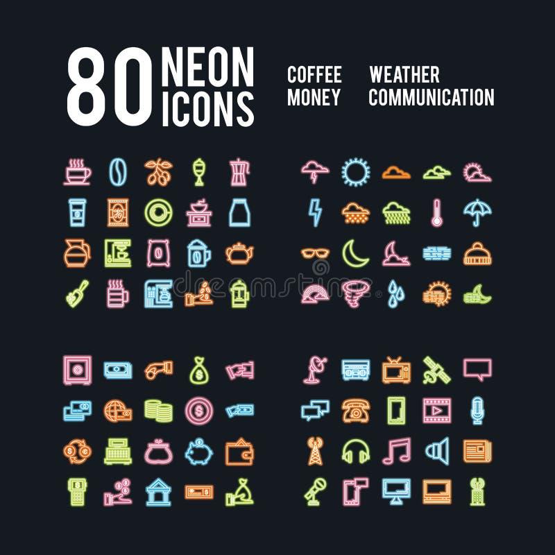 Różne neonowe ikony napoju pogodowy biznes i komunikacje, wektor paczka royalty ilustracja