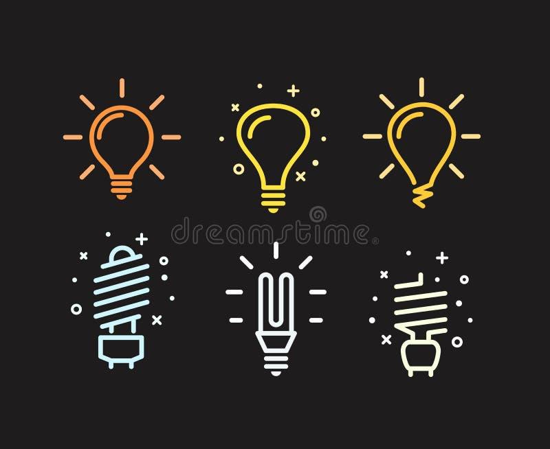 Różne nowożytne lightbulb sylwetki ilustracja wektor