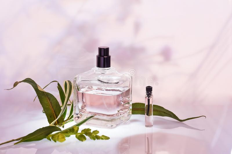 Różne pachnidło butelki, sampler na różowym kwiecistym tle i Selekcyjna ostrość Mydlarni kolekcja, kosmetyki zdjęcia stock