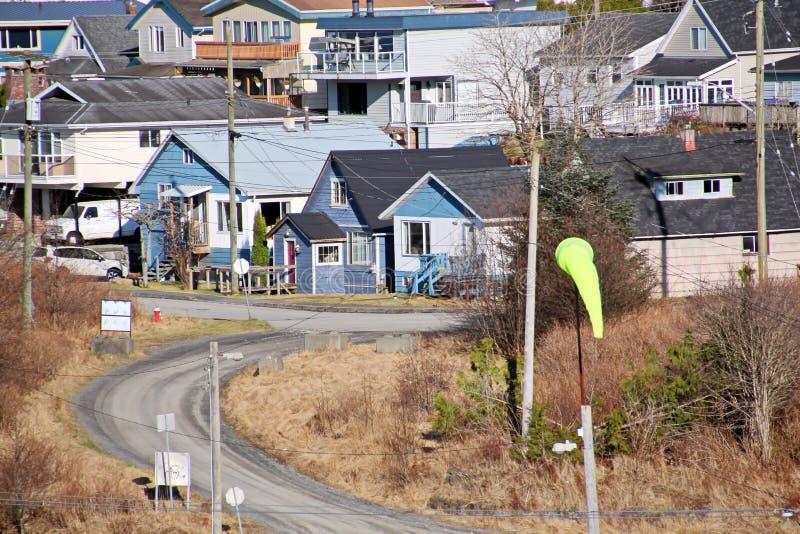 Różne poglądy na temat miasta i zatoki morskiej po południu i wieczorem Książę Rupert BC Kanada zdjęcie stock