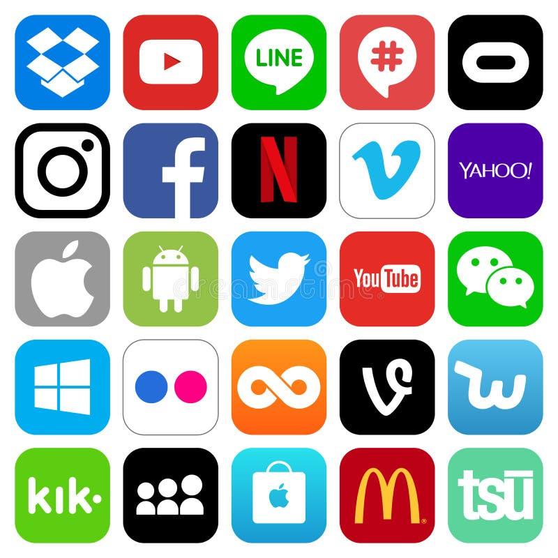 Różne popularne ogólnospołeczne medialne i inne ikony ilustracja wektor