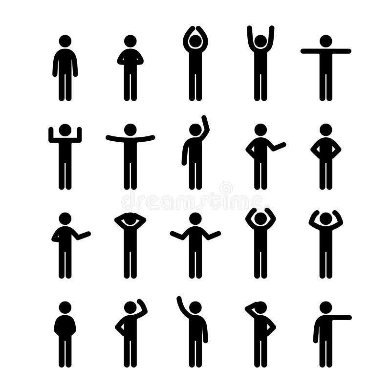 Różne pozy wtykają postać piktograma ikony setu ludzi Ludzki symbolu znak royalty ilustracja
