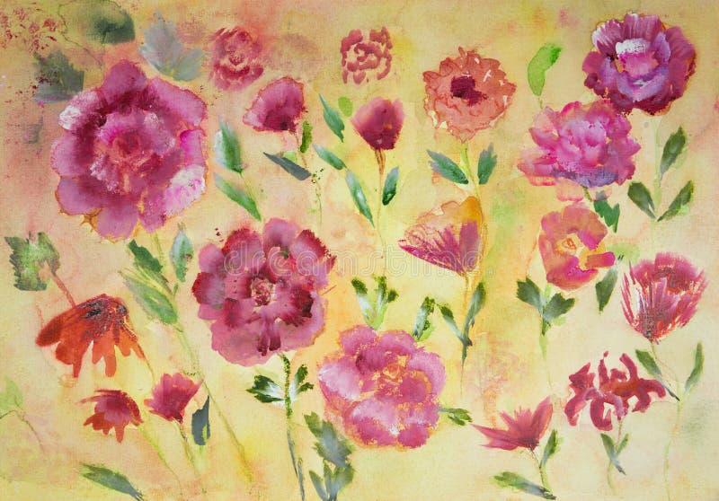 Różne róże na żółtym tle jakby ilustracji