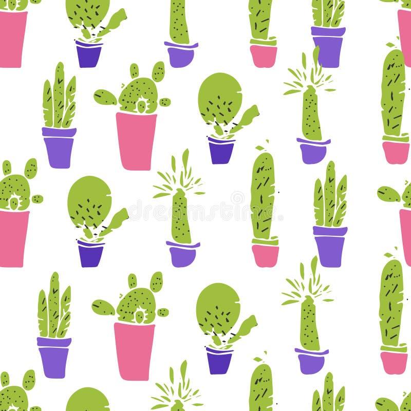Różne rośliny, kaktus Płaski wektor bezszwowy wzoru royalty ilustracja