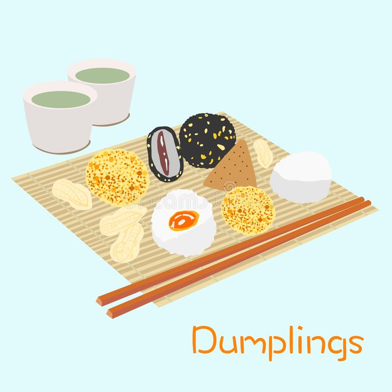 Różne ryżowe kluchy na bambusa stole ilustracja wektor