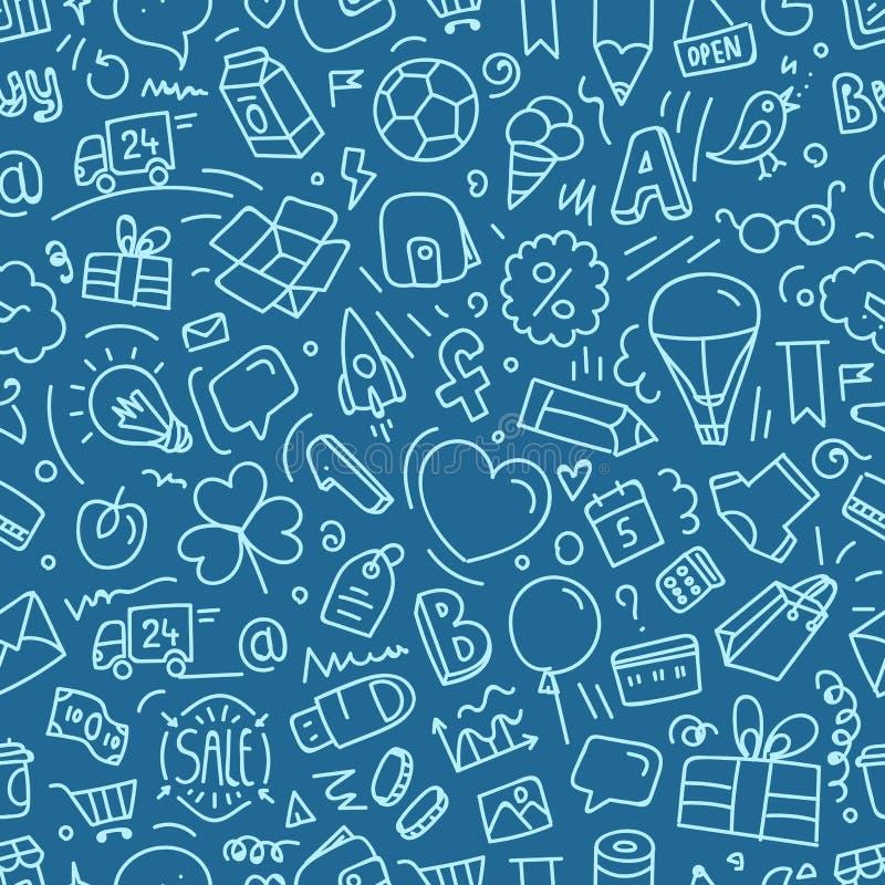 Różne sieć interfejsu doodle sylwetki ilustracji