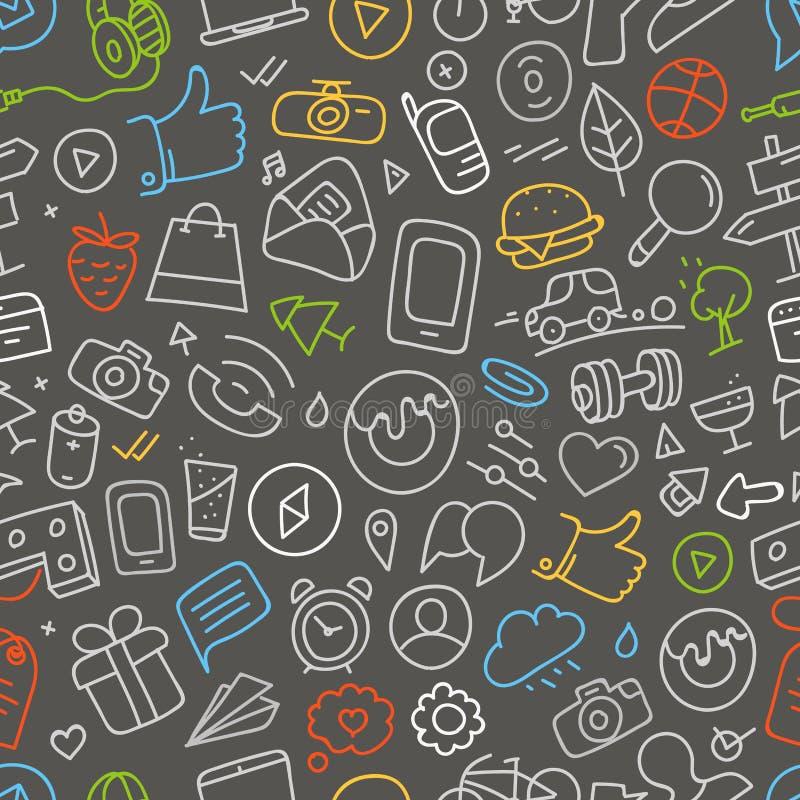 Różne sieć interfejsu doodle sylwetki royalty ilustracja