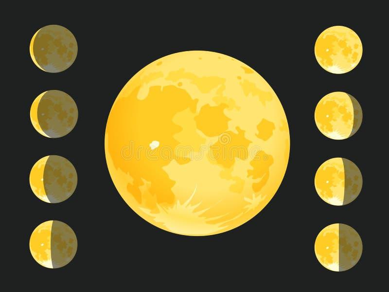 Różne sylwetki księżyc ilustracji