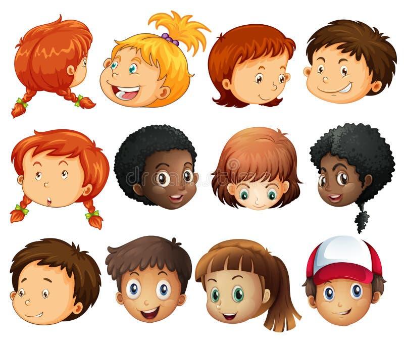 Różne twarze chłopiec i dziewczyny royalty ilustracja