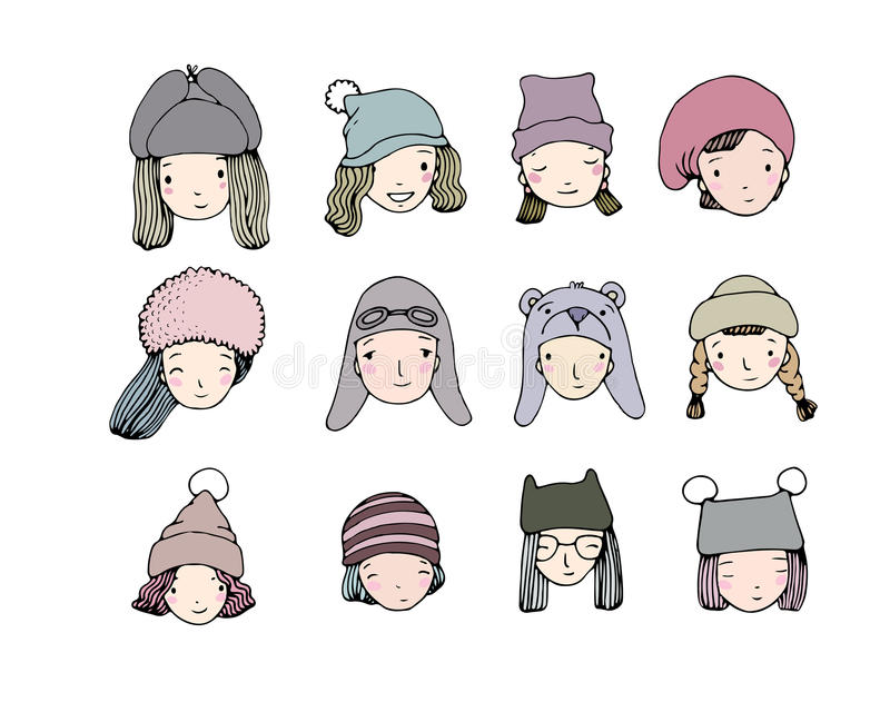Różne twarze Ludzie w zima kapeluszach Ręka rysunek protestuje na białym tle royalty ilustracja