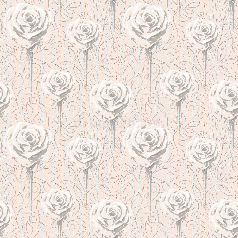 Różne wielkościowe róże i kontury abstrakcjonistyczni kwiaty i liście royalty ilustracja