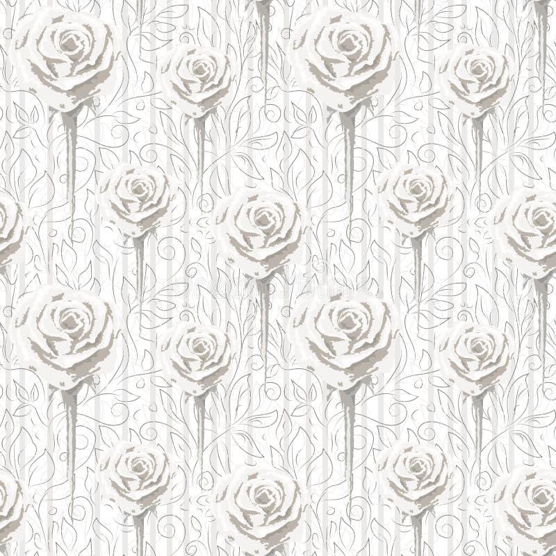 Różne wielkościowe róże i kontury abstrakcjonistyczni kwiaty i liście ilustracja wektor