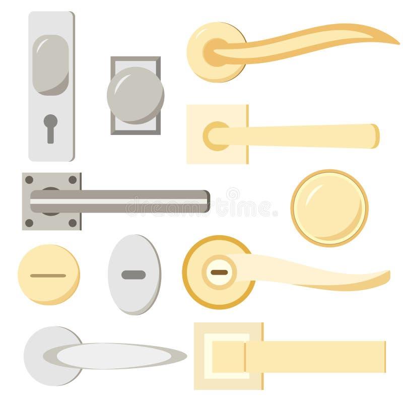 Różnego formularzowego kędziorka metalu srebny, złocisty drzwi i ustawiamy odosobnionego na białym tle royalty ilustracja