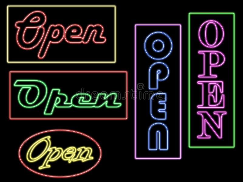 różnego neon otwarci znaki zdjęcia royalty free