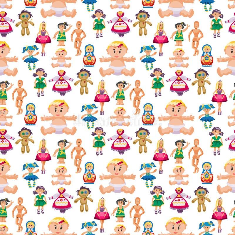 Różnej lala charakteru gry zabawkarskiej sukni tła gospodarstwa rolnego strach na wróble lali wektoru bezszwowa deseniowa ilustra ilustracji