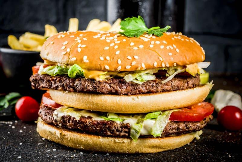 Różnej partii jedzenie, hamburgery, francuz smaży, frytki, wybór fotografia royalty free