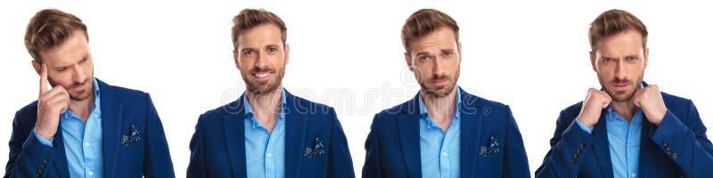 4 różnej twarzy elegancki młody człowiek zdjęcie stock