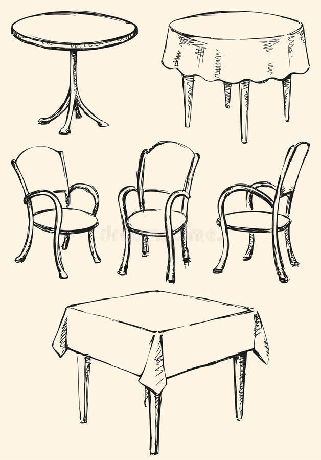 Różni Ð ¡ hairs i stoły Wektorowy nakreślenie royalty ilustracja