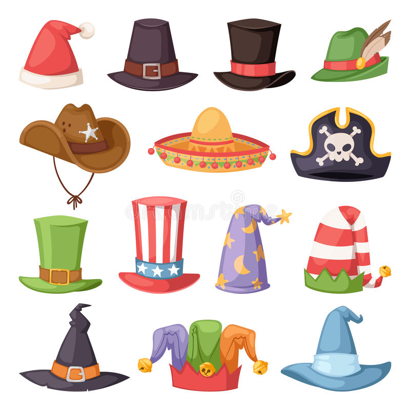 Różni śmieszni kapelusze dla przyjęcia i wakacje podają się wektor royalty ilustracja