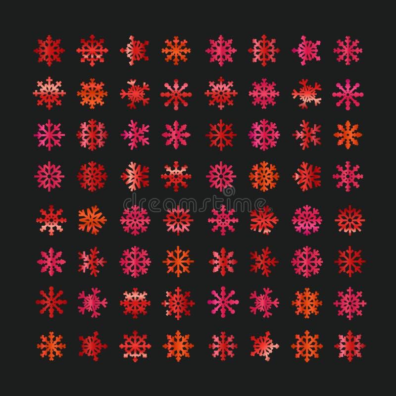 Różni abstrakcjonistyczni czerwoni wektorowi płatki śniegu ilustracja wektor