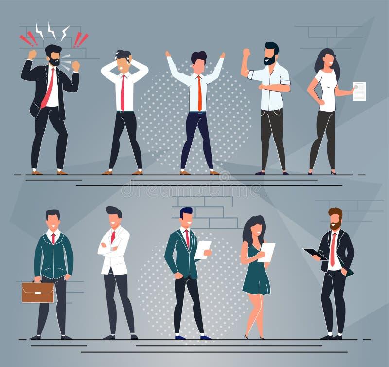 Różni Biurowi ludzie charakter kreskówki setu ilustracji