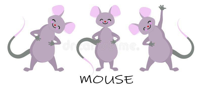 Różni charaktery myszy w pozach Myszy zwierzę, szczur ślepuszonka Rozochocona wektorowa ilustracja ilustracji