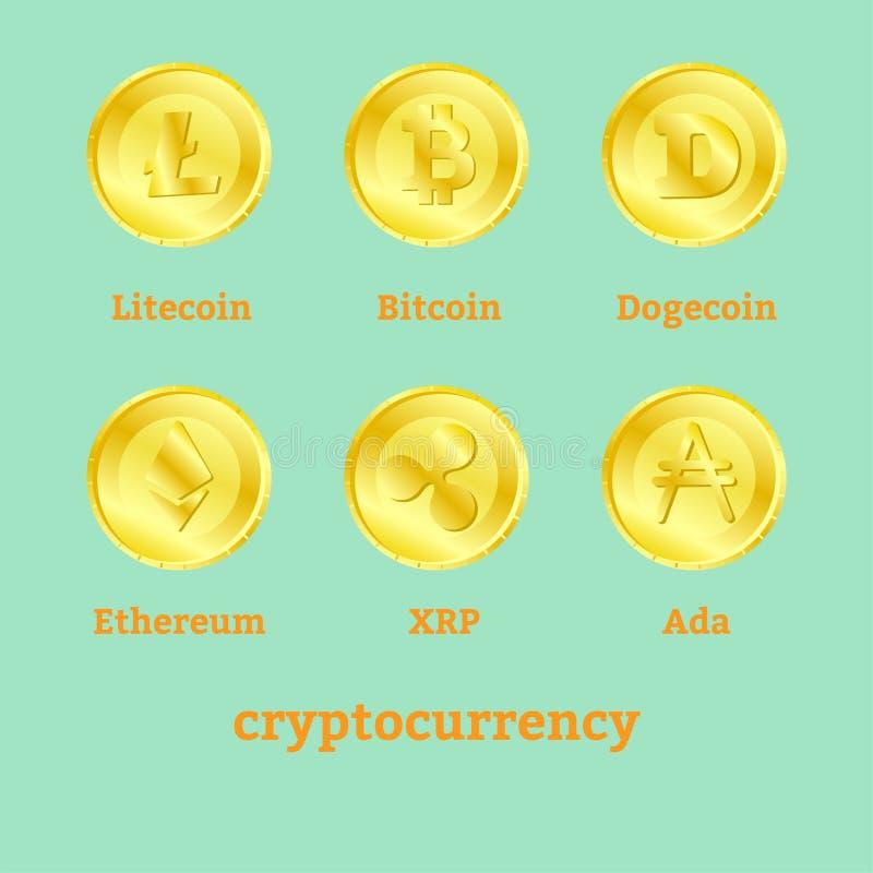 Różni cryptocurrency znaki na złotych monetach royalty ilustracja