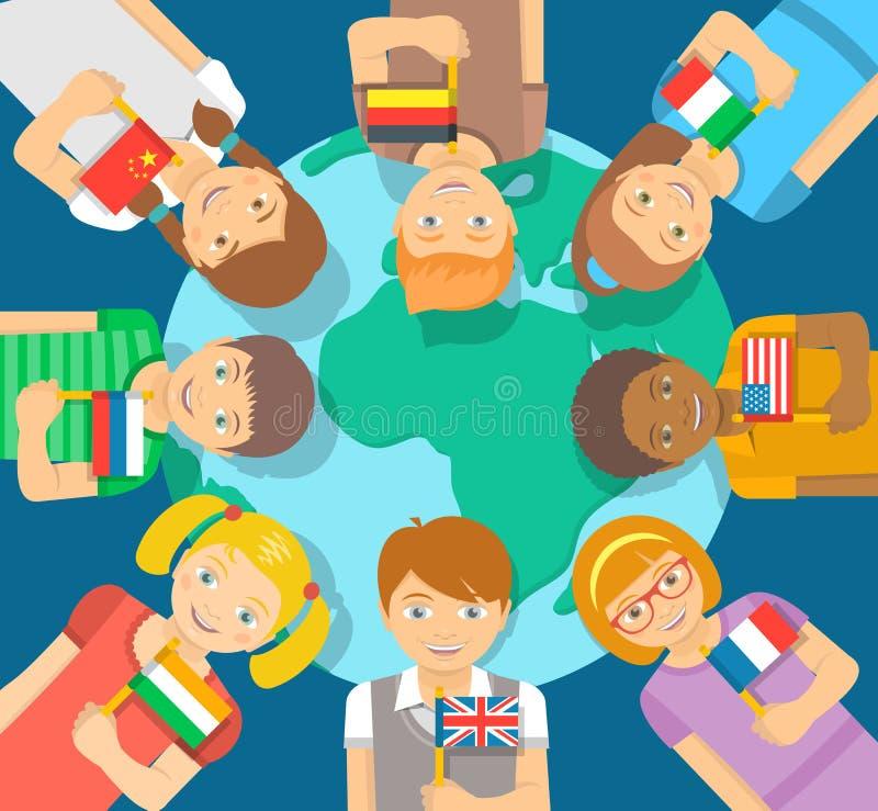 Różni dzieciaki z flaga wokoło ziemi royalty ilustracja