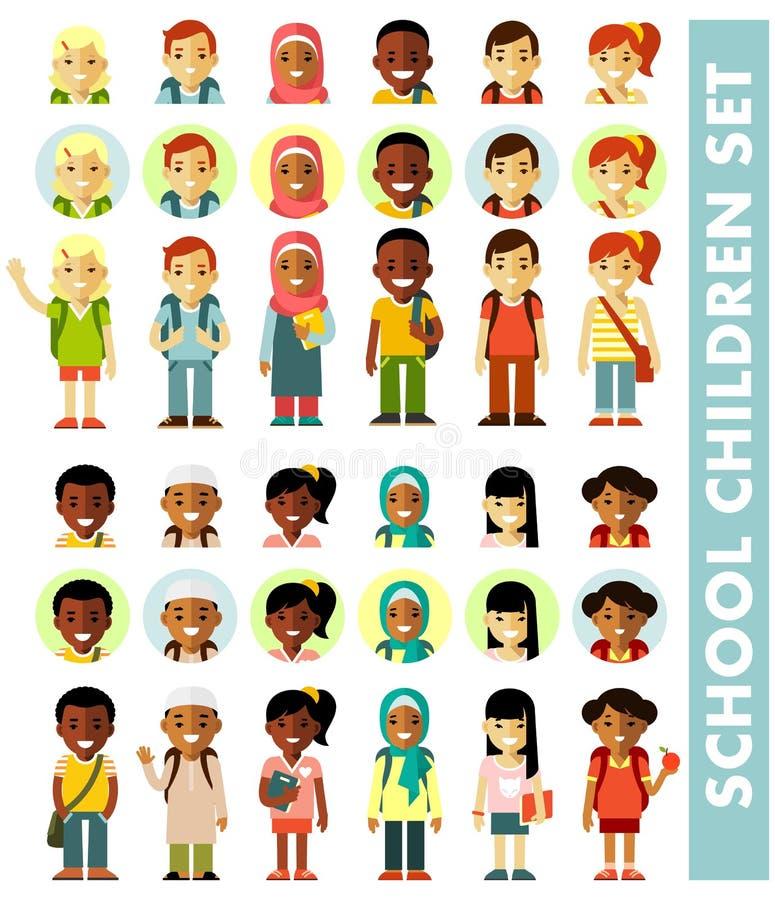 Różni dziecko w wieku szkolnym avatars ustawiający w mieszkanie stylu ilustracji