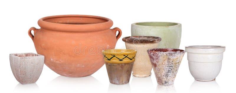 Różni flowerpots, odizolowywający zdjęcia stock