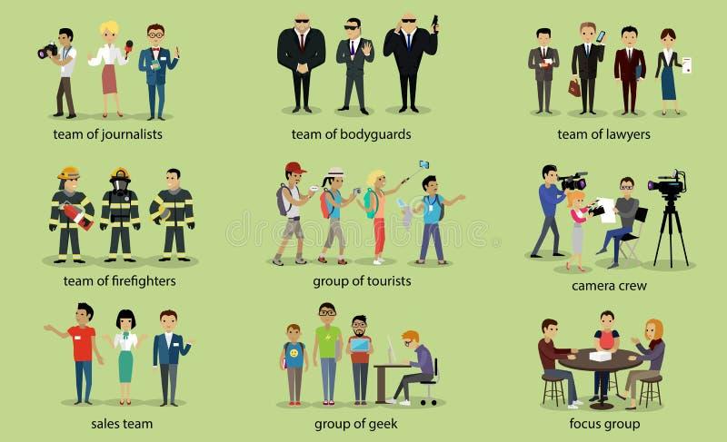 Różni grupa ludzi strażaka prawnicy ilustracji