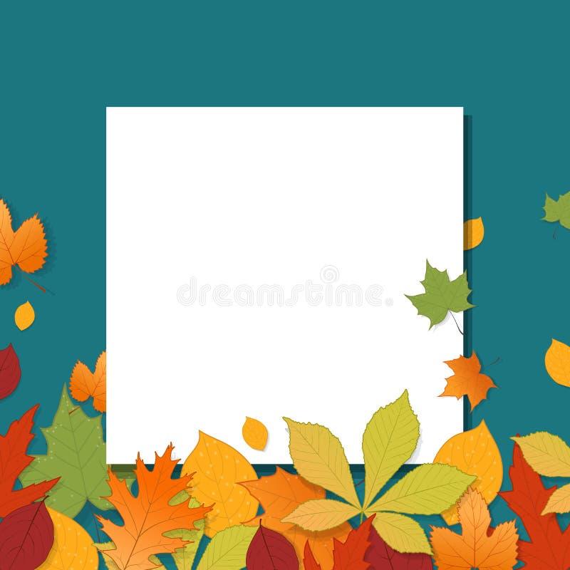 Różni jesień liście z pustego papieru prześcieradłem ilustracji