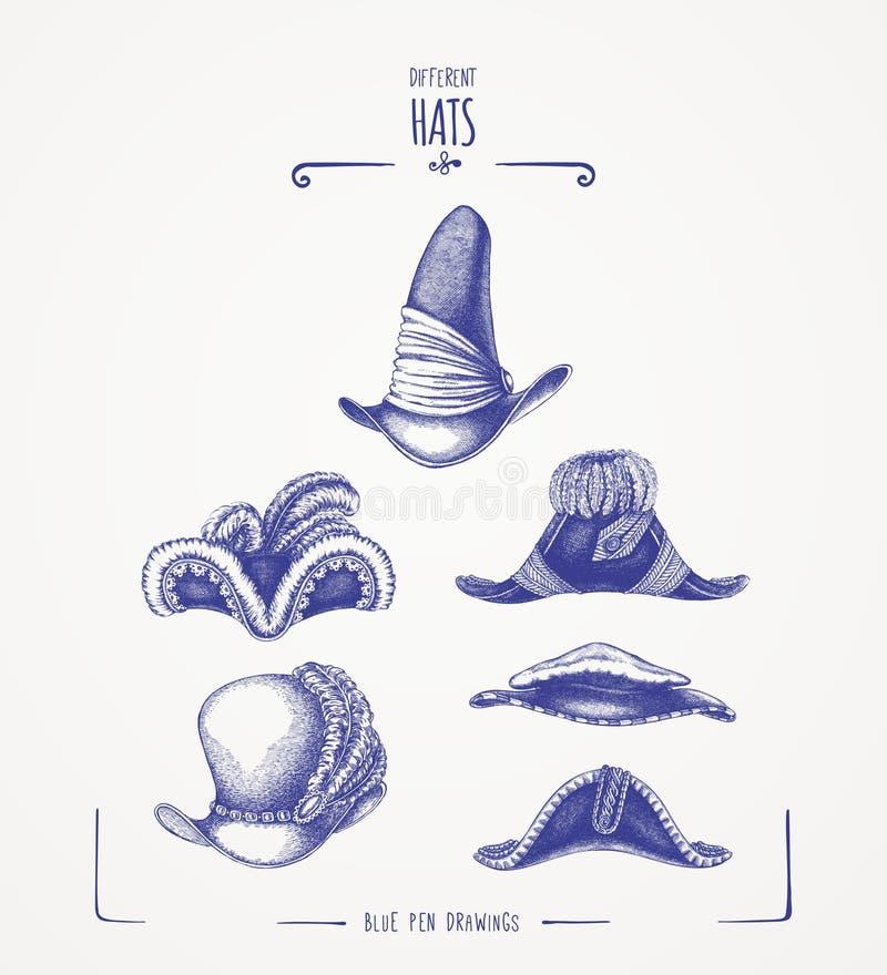 Różni kapelusze royalty ilustracja