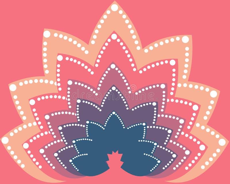 Różni kolory Lotosowy kwiat na różowym tle royalty ilustracja